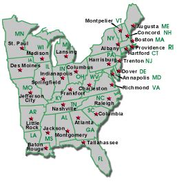 united states map of the eastern states map of eastern united states and capitals