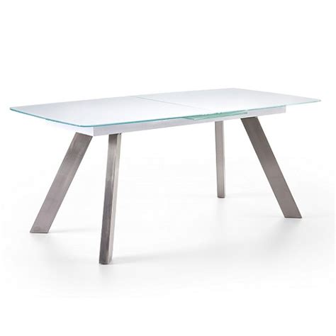 walker extendable glass dining table in white 27559