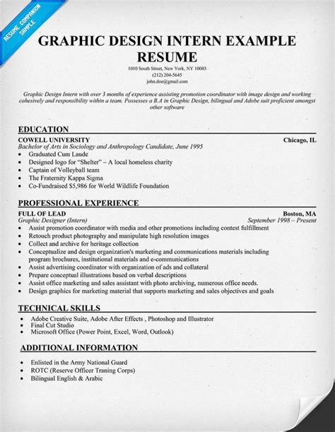 graphic design resume exles sle cover letter for internship in graphic design