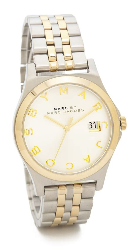 Marc By Marc S Mbm3353 Slim Two Tone Stainless Steel Watc marc by marc the slim two tone gold silver in metallic lyst