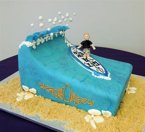 Surf Cake Decorations by Cake Fiction Surf Dude Bar Mitzvah Cake