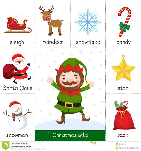 christmas decorations flashcards printable flash card for set and stock vector illustration of
