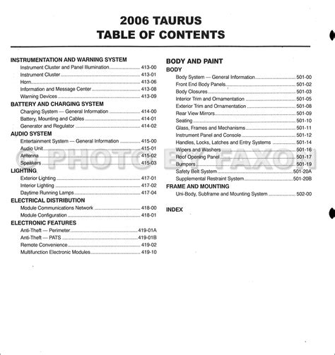 service manual online car repair manuals free 2006 ford taurus head up display 2006 2007