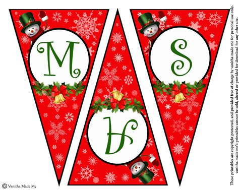 Diy Free Printable Christmas Banner Vanitha Made Me Merry Letter Banner Template