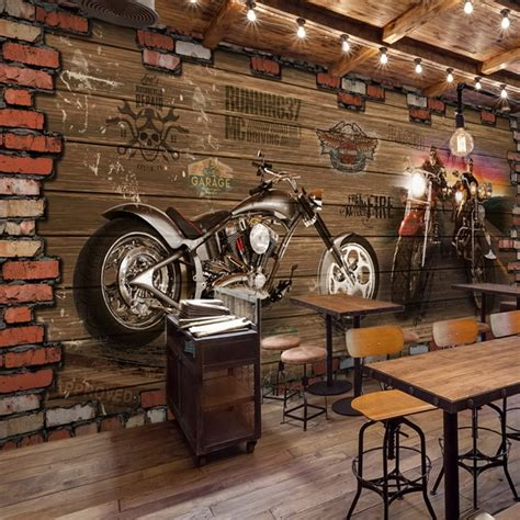 custom  mural internet cafes  vintage motorcycle car
