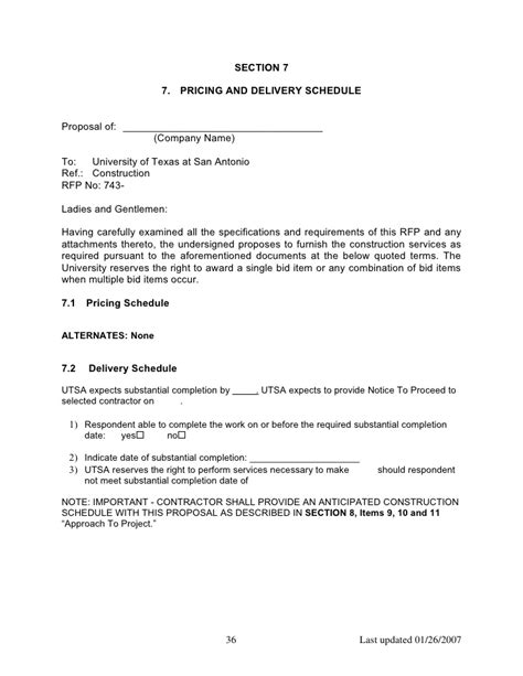 construction rfp template doc doc