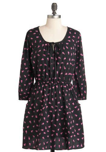 Dress Meow Black To the fuchsia is meow dress mod retro vintage dresses modcloth