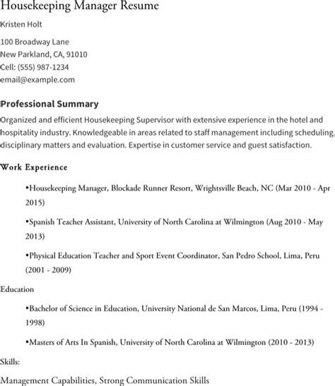 free sle resume housekeeping supervisor housekeeping supervisor resume for free formtemplate