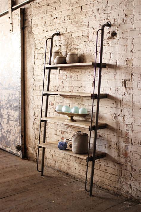 Iron Pipe Bookshelf Large Wood And Metal Leaning Shelving Unit