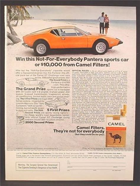 Cigarette Sweepstakes - magazine ad for camel cigarettes pantera sports car contest sweepstakes 1973