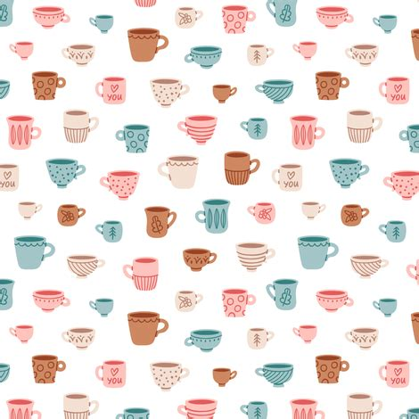 Flower Mug Spoon mugs pattern fabric stolenpencil spoonflower
