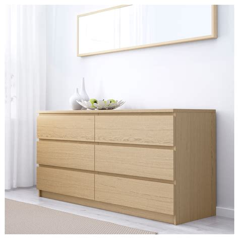 malm 6 drawer chest ikea uk malm chest of 6 drawers white stained oak veneer 160x78 cm