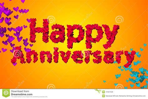 happy anniversary heart shape  orange background stock