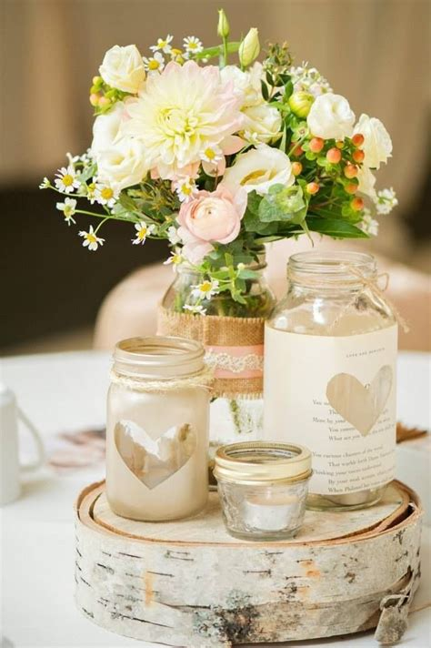 mason jar centerpieces heart shape