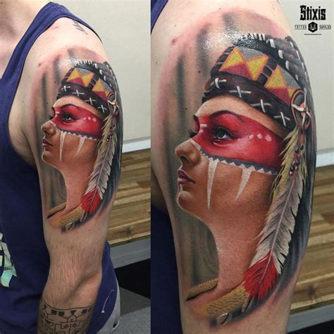 native american girl tattoo american portrait best design ideas