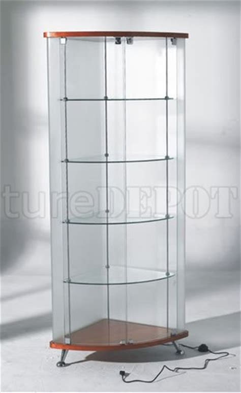 Modern Corner Curio Cabinet by Corner Curio With Cherry Finish Base
