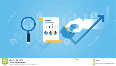 Web Researcher by Flat Line Design Website Banner Of Business Research And Analysis Stock Vector Image 68940670