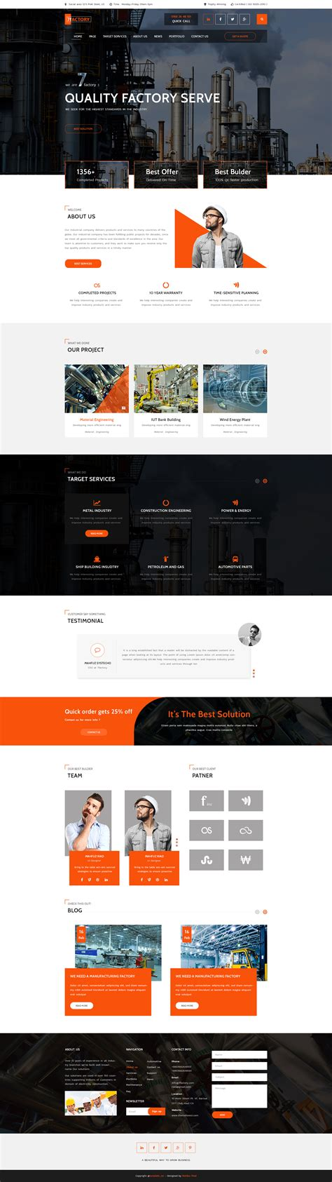 7factory Industrial Manufacturing Psd Template By Template Mr Themeforest Free Manufacturing Website Templates