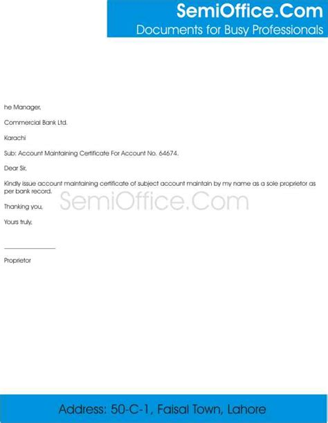 bank account maintenance certificate request letter