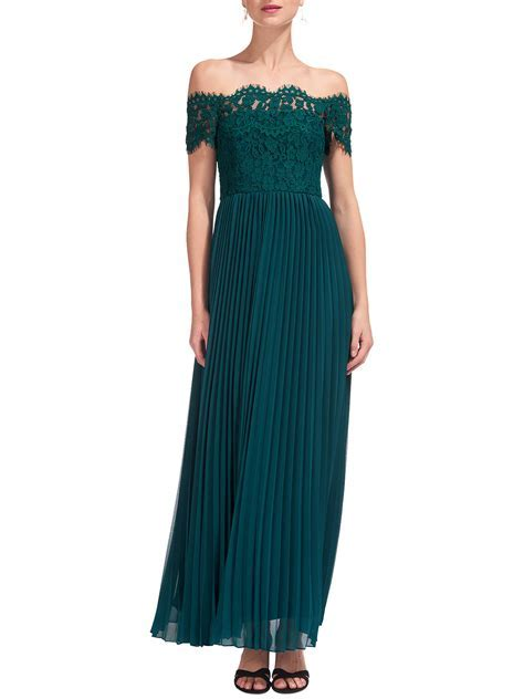 Whistles Bardot Lace Maxi Dress, Green at John Lewis