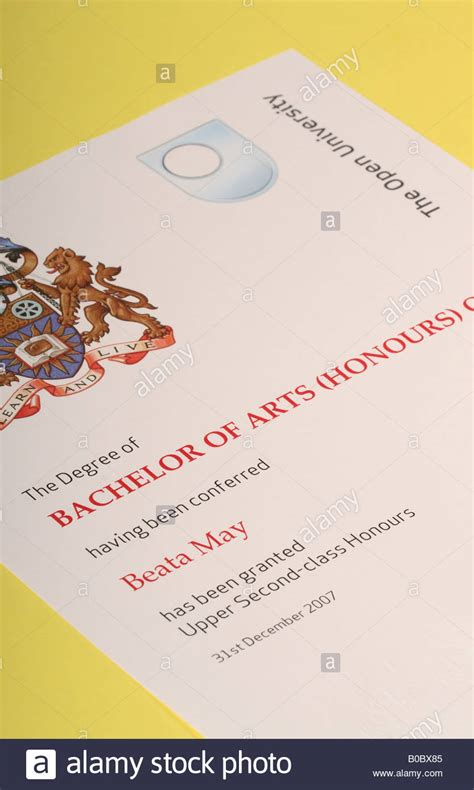open degree certificate bachelor of arts with honours stock photo royalty free image