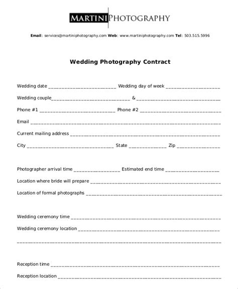 Simple Photography Contract Template photography contract exle 11 free word pdf documents
