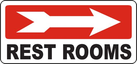 signage for comfort rooms rest rooms right arrow sign d5740 by safetysign com