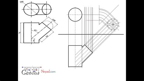 technical drawing pattern development engineering drawing tutorials intersection of solids with