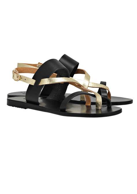 black and gold flat sandals ancient sandals althea flat sandals black gold