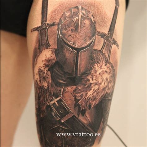 dark knight tattoo designs realistic of faraam from souls ii by