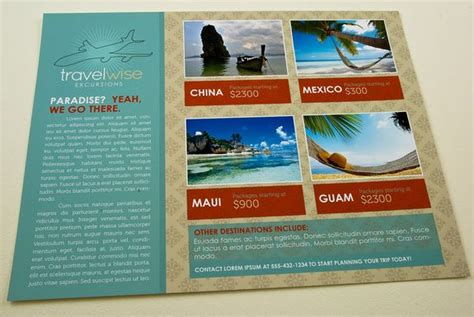 layout features of a leaflet travel agency flyer template this classic clean design