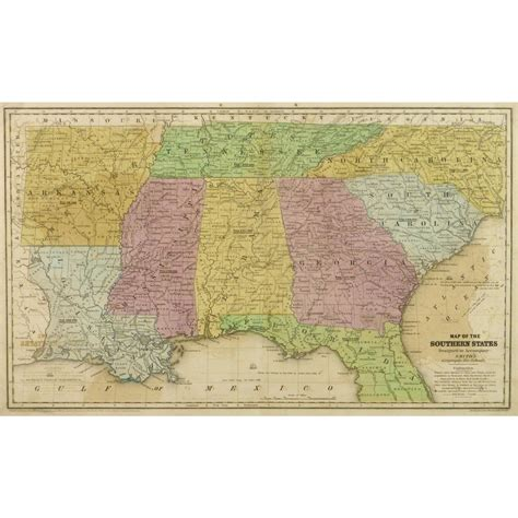 map southern united states map southern united states 1839 original antique