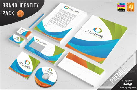 3d Play Media Corporate Identity Stationery Templates On Creative Market Branding Package Template