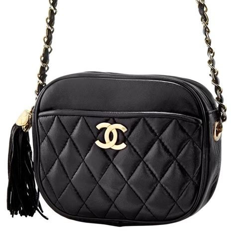 Chanel Metallic Gilt Leather Bag by Quilted Black Leather And Gilt Metal Bag With Tassel Chanel