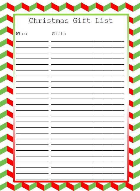 28 christmas gift list template holiday gift list