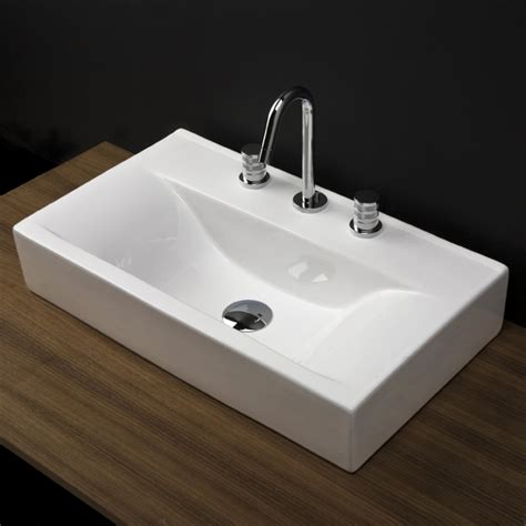 Vanity Top Bathroom Sinks by Lacava 5461 Porcelain Vanity Top With An Overflow