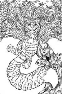cheshire cat original linework therealjoshlyman deviantart