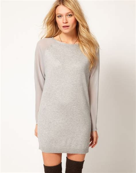 asos pattern jumper with sheer sleeves asos sheer sleeve jumper dress in gray grey lyst