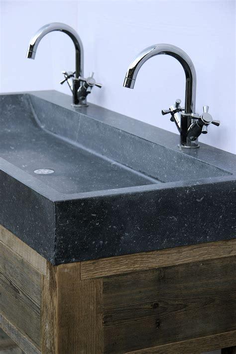 natuursteen badkamermeubel badkamermeubel oud hout en natuursteen op maat gemaakt