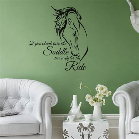 horse head wall decal stickers quote saddle ride living