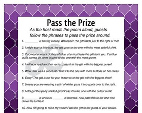 Pass The Prize Baby Shower by Pass The Prize Etsy