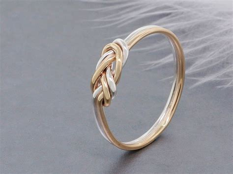 Sterling Silver Knot Ring solid gold and sterling silver climbing knot ring
