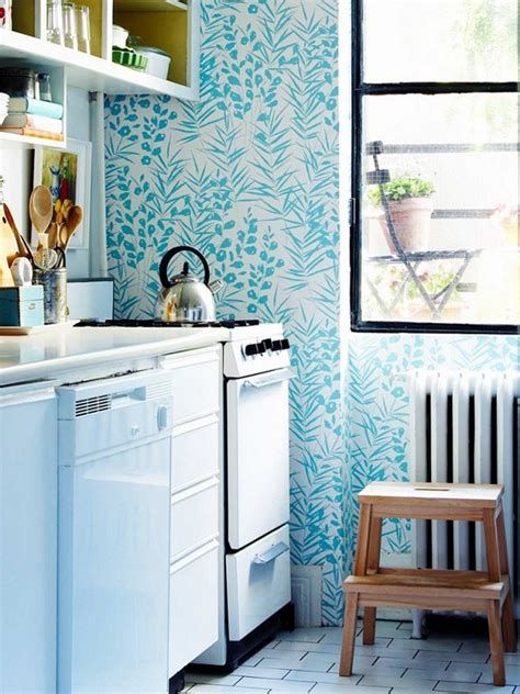 Wallpaper Designs For Kitchens Blue Kitchen Wallpaper