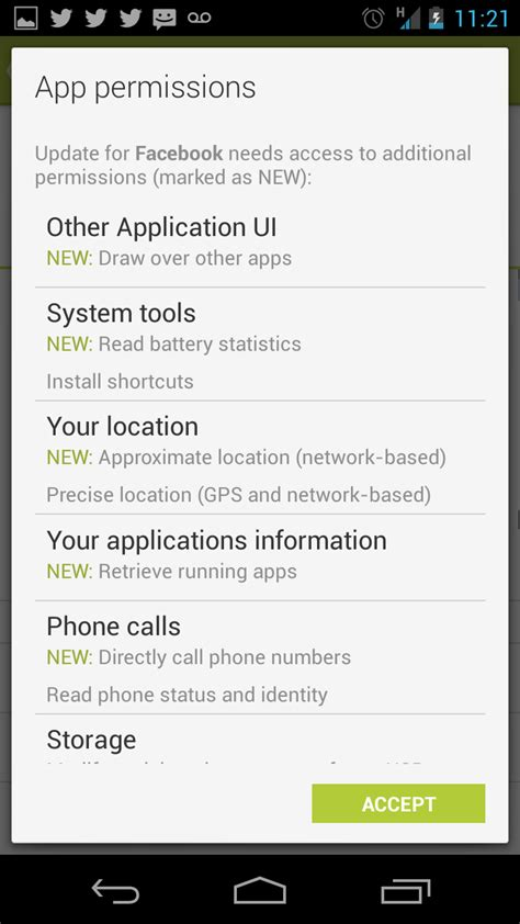 android app permissions during home launch updated its android app with permission to collect data on