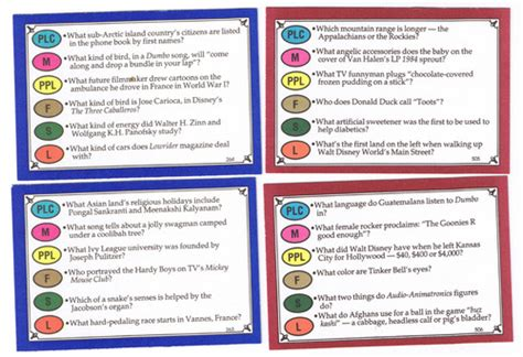 trivial pursuit card template trivial pursuit walt disney family edition card set