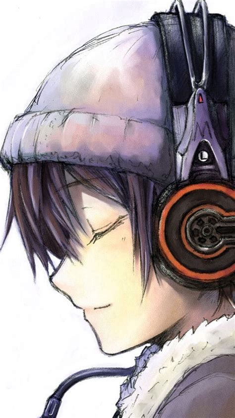 cute black hair anime girl with headphones anime boy glasses headphones www imgkid com the image