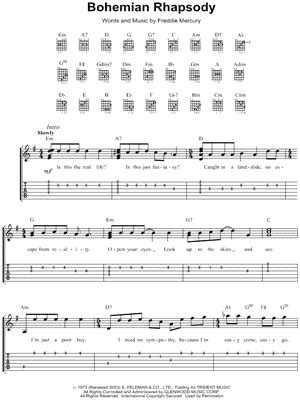 tutorial guitar bohemian rhapsody queen quot bohemian rhapsody quot guitar tab download print