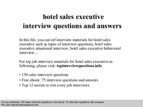 hotel sales executive questions and answers
