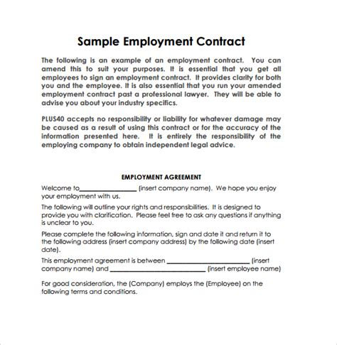 Employee Agreement Letter Format Employment Contract 9 Documents In Pdf Doc