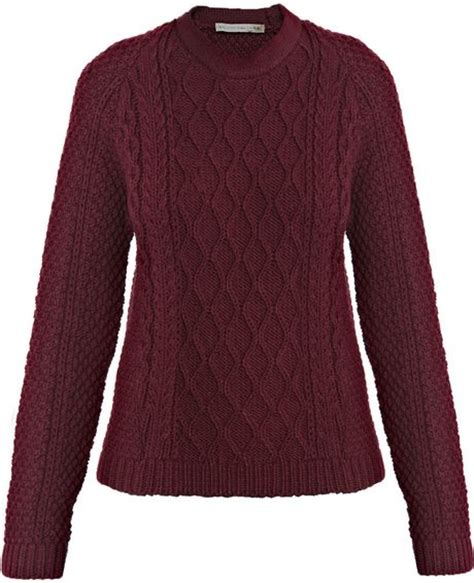 burgundy knit sweater balenciaga cable knit sweater in purple burgundy lyst